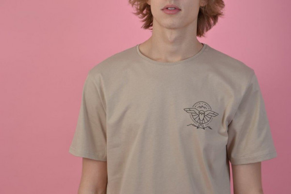 Kite Mate Backprint T-Shirt Beige/Black