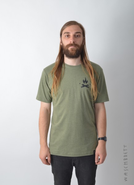 Fire Icon Backprint T-Shirt Olive Heather/Black