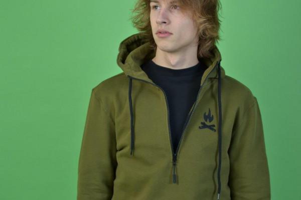 Easy Halfzip Hood Olive/Black