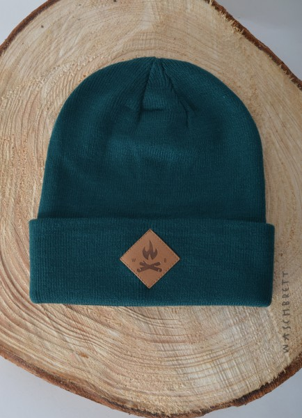 Fire Icon Diamond Beanie Green