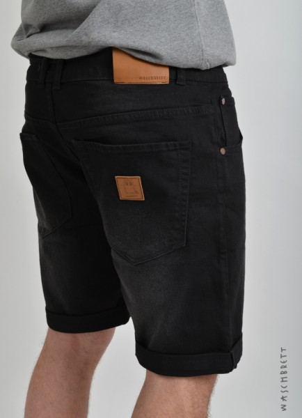 Straight Jeans Short Black Washed