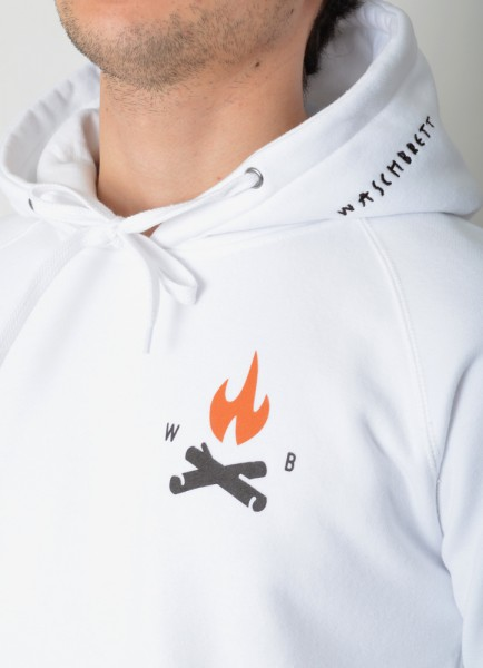 Fire Icon Backprint Washed Hood White/Orange-Anthrazit