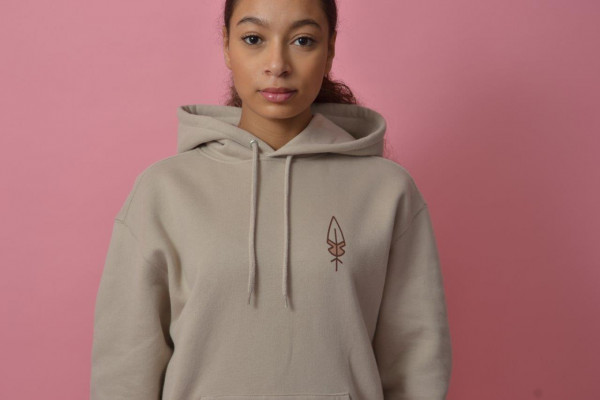 Feather Women Hood Beige/Burgundy-Rose