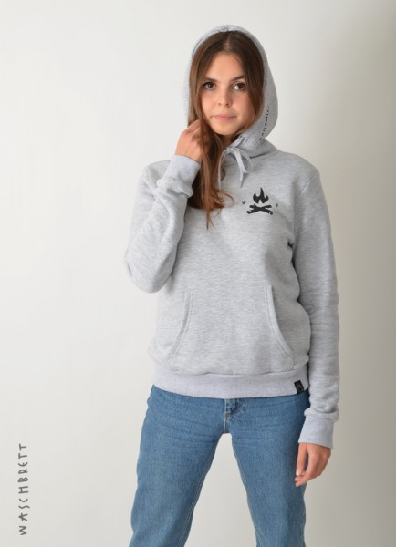 Fire Icon Women Hood Sportgrey/Black