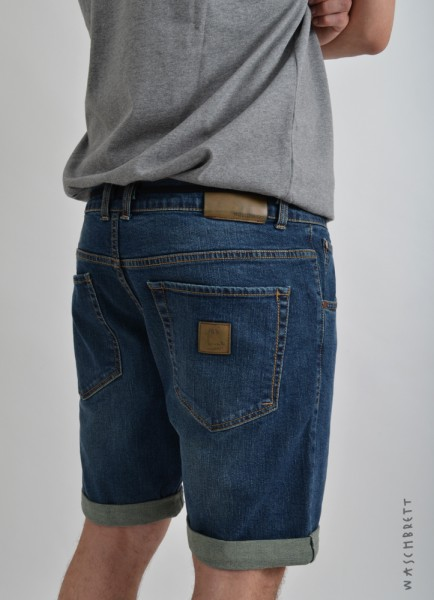 Straight Jeans Short Raw Blue Washed